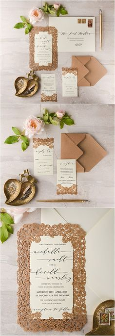 kraft paper laser cut wedding invitation kits 05LcutGz / http://www.deerpearlflowers.com/laser-cut-wedding-invitations/3/