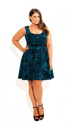 Plus Size Flocked Animal Skater Dress - City Chic - City Chic
