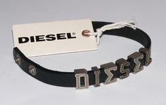 Diesel Askyt Bracciale Armband Herren Lederarmband Silber Schwarz  7