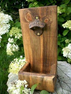 Rustic Wooden Bottle Opener with Cap Catcher for Man Gifts, Groomsmen