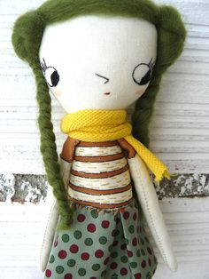 Tiny Art doll. Caty number 4. Embroidered and painted. Merino