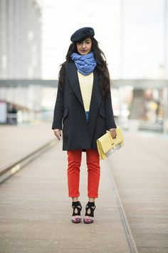 This Is It — Over 400 of The Best Looks to Hit the Streets at NYFW: A cool-girl play on menswear, with the most standout of studded loafers.: Mixed and matched — but with a great coat to pull it all together.  : Bright pants and killer footwear took the spotlight outside Lincoln Center.  Source: Adam Katz Sinding