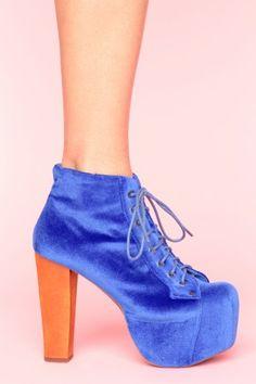 Jeffrey Campbell  Lita Platform Boot - Blue Velvet  $162