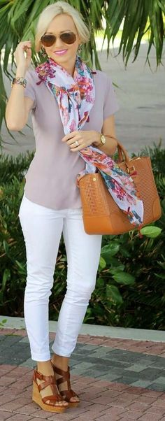 Street style with light color combo and scarf 2017