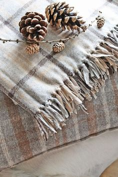 Grey and Brown Plaid Throw - Ana Rosa Vibeke Design, Fru Fru, Autumn Home, Pine Cones, Warm And Cozy, Decoration, Peace And Love, Tartan, Neutral