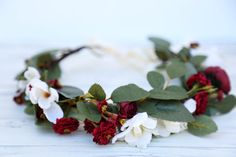 Fall burgundy flower crown Flower headband headband wedding