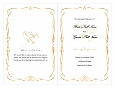 Word wedding program free template