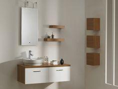 Ensemble CAPRECCIO - meubles de salle de bain suspendus en MDF + large vasque posée