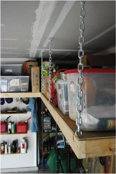 Suspended overhead garage shelves http://overheadshelves.weebly.com/index.html