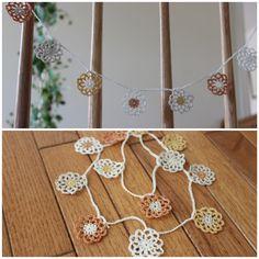 crochet garland of flower Crochet Garland, Crochet Necklace, Flowers, Jewelry, Jewlery, Jewerly, Schmuck, Jewels, Jewelery