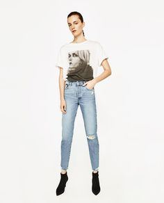 Image 1 of HIGH RISE JEANS WITH RIPS from Zara