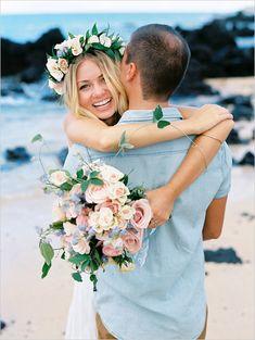 Hawaiian engagement by Wendy Laurel, Haku lei, flower crown, engagement photos Wedding Pics, Wedding Engagement, Engagement Photos, Dream Wedding, Wedding Bride, Perfect Wedding, Wedding Ideas, Beach Wedding Colors, Beach Wedding Decorations