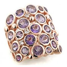 Sima K 'Cobble Stone' silver14k rose gold vermeil ring with rose de france, amethyst and white topaz by www.simakboutique.com