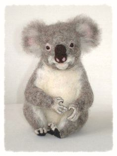 Ooak Needle Felted Koala by FireflyFelts on Etsy, $180.00. Firefly Felts [New Zealand] - https://www.etsy.com/shop/FireflyFelts #koala #needlefeltedkoala