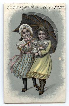 CHAT.CAT.KATZE.PETITES FILLES .PRETTY GIRL.PARAPLUIE.UMBRELLA.