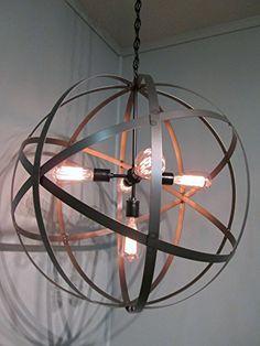 "$495 24"" wide Industrial Steel 24"" Orb Sphere Wine Barrel Ring Chandelier 5 Light Black Ceiling Light Fixture Vintage http://www.amazon.com/dp/B00MKIOKG0/ref=cm_sw_r_pi_dp_QgK-tb01423N3"