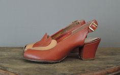 1940s Shoes size 5-1/2, Brown & Beige Leather Peep Toe Slingbacks, some flaws by dandelionvintage on Etsy
