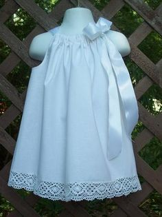 Pillowcase Dress in White Cotton - Flower girl dress - could probably make myself at home