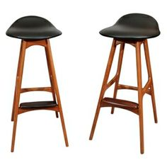 Pair of Mid Century Danish Modern Stools by Erik Buck  Denmark  c. 1950's  A pair of his-and-hers stools with newly reupholstered black by Empower10