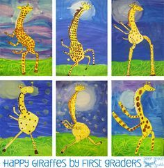 Giraffes Can't Dance Art Lesson A great directed line instruction drawing of the classic children's book, Giraffes Can't Dance. Children learn to create funny, personalized cut-out giraffe Animal Art Projects, Toddler Art Projects, School Art Projects, Art Lessons For Kids, Art Lessons Elementary, Art For Kids, Art Children, Children Painting, Child Art