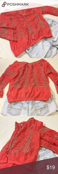 free people peasant crop top Free people bohemian style crop top EUC  beautiful salmon red with tan and brown details elastic waist and adorable cut sleeves! Perfect paired with a bell jean or cords! Free People Tops