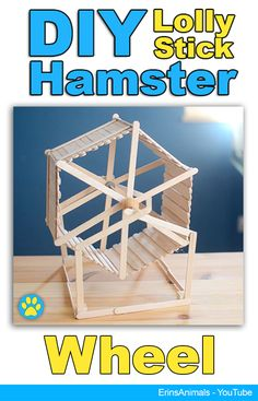 DIY Hamster Wheel made from lolly/popsicle sticks! Diy Hamster House, Hamster Diy Cage, Hamster Stuff, Baby Hamster, Hamster Care, Hamster Wheel, Gerbil Toys, Rat Toys, Guinea Pig Toys