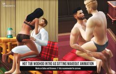 """A wee lil animation replacement for more steamy SimPics.You know that porn-y sort of animation that happens when your sims do a Hot Tub woohoo? Ever wish you could have that same animation except have it happen somewhere more intimate (i.e. the couch in the living room)? Here you go! Make two sims """"Make Out"""" on a couch or an ottoman and let the magic happen. To make them go back to their old smoochy-woochy ways, simply remove the package from your mods folder.Your Sims will fly a bit during…"""