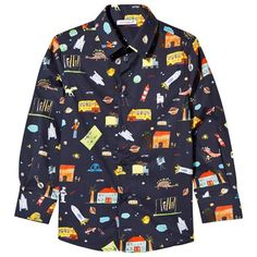 Navy Multi Cartoon Print Poplin Shirt
