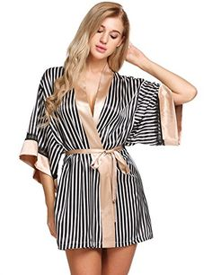 Womens Satin Plain Short Robe Stripe Bathrobe Nightwear - - Clothing, Lingerie, Sleep & Lounge, Sleep & Lounge, Robes Source by myerastyle clothes wedding Sleepwear & Loungewear, Sleepwear Women, Nightwear, Pijamas Women, Lace Trim Shorts, Short Kimono, Night Gown, Lounge Wear, Satin