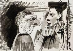 PABLO RUIZ PICASSO, Dos hombres de perfil, Gouache, 31 x 44 cm. Picasso, Gouache, Two Men, Profile, Art