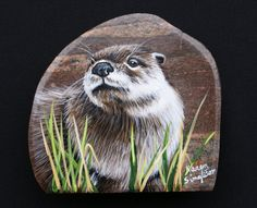 Handpainted+River+Otter+by+PrecambrianTreasures+on+Etsy,+$85.00