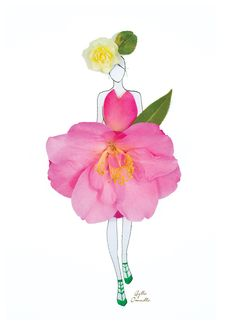 "Fashion Illustrations With Real Flower Petals As Clothing.  ""made of real flower"""