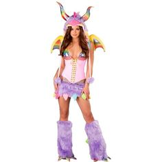 Rainbow Dragon Sexy Adult Costume ($50) ❤ liked on Polyvore featuring costumes, halloween costumes, multicolor, white costume, colorful halloween costumes, white halloween costumes, adult dragon costume and sexy dragon costume