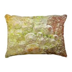 Explosive - Red Gold Green Bubbles Abstract Outdoor Pillow - personalize custom customizable