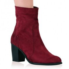 Amerie Ankle Boots in Berry Faux Suede