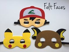 One set of 3 Pokemon party masks, one of each style shown in the photo. Each mask is made with premium felt, and has a black elastic band sewn to each side of the back. These adorable party masks are