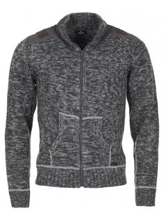 Men's zip-up chunky knit cardigan with woven shoulder & elbow patches, a funnel neck and twin front pockets. Chunky Knit Cardigan, Keep Warm, Boy Fashion, Dark Grey, Nice Dresses, Knitwear, Zip Ups, Patches, Menswear