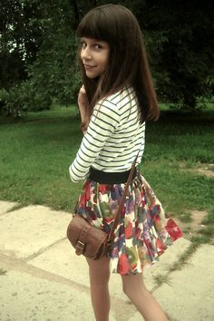 Striped Top, Floral Skirt outfit