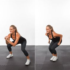 """lower into squat. """"jack"""" your feet in and out without breaking the squat position."""