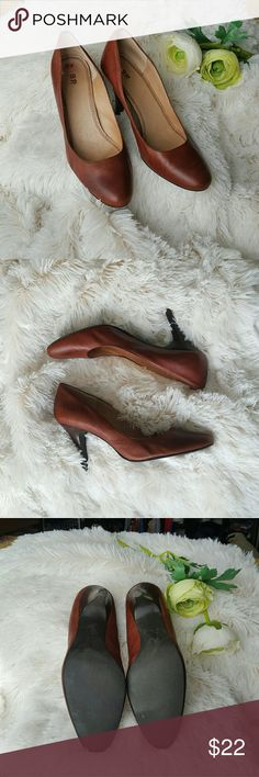 B.p. nordstrom brown leather pumps heels vintage Brown cognac leather pumps super comfortable for work and play! BP brand from nordstrom. Want to work bottoms are clean love this color with some flirty dresses initials BV on inside because it was bought consigned. Cute with vintage looks also. Three and a half inch heel with round toe. some scuff marks from regular wear still has good life to them! ✔offers ✔bundles ✔suggestions! b.p. Shoes Heels