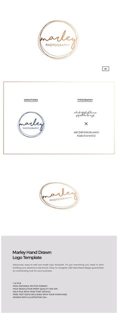 Marley Hand Drawn Logo Template by The Design Label on @creativemarket