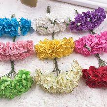 12 PCS Un lot 1 cm Lumineux or powderHead Multicolore Artificielle Papier Fleurs Rose Utilisé Pour Décoratif Cadeau(China)