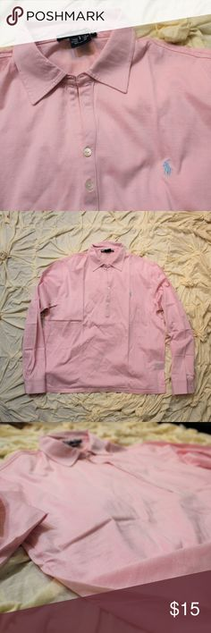 Ralph Lauren Golf pink polo shirt Soft, heavier weight sporty top, perfect for a cool morning of golf or for running around town. Worn twice, Ralph Lauren Golf Tops Tees - Long Sleeve
