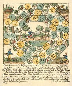 Jagd-Spiel  (juego de la caza)  Publicado por Johann Raab en Nuremberg en el siglo 18, esta impresión se describe en las notas como una litografía coloreada a mano. Creo que es más probable que un grabado en madera, dada la calidad poco sofisticado y el hecho de que sólo la litografía fue inventada en 1796. * Shrug *