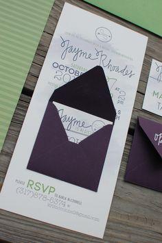 © Copyright Turquoise Feathers Wedding Design | Mini Envelope Eggplant & Sage Green Bridal Shower Invitations