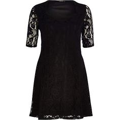 Black lace sweetheart fit and flare dress $64.00