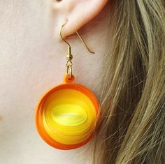 Paper Earrings Yellow Paper Quilled Earrings Dangle by ElinaQuills Paper Bead Jewelry, Paper Beads, Diy Jewelry, Beaded Jewelry, Handmade Jewelry, Jewelry Making, Paper Quilling Earrings, Paper Quilling Designs, Quilling Paper Craft
