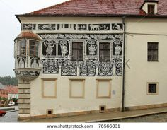 Famous Malovany Dum, Old Building . Old Building, Sgraffito, Czech Republic, Photo Editing, Royalty Free Stock Photos, Gallery Wall, Architecture, Outdoor Decor, Pictures