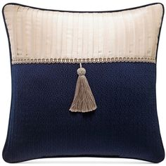 """Croscill Imperial 16"""" Square Decorative Pillow ($50) ❤ liked on Polyvore featuring home, home decor, throw pillows, multi, dark blue throw pillows, croscill throw pillows, navy accent pillows, textured throw pillows and navy throw pillow"""