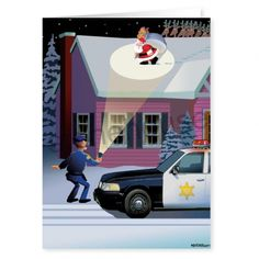 Police Spot Light Security Christmas Card
